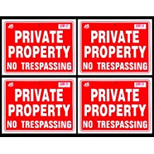 4 Signs Private Property No Trespassing Sign Flexible Heavy Thick Plastic (9 inch X 12 inch)