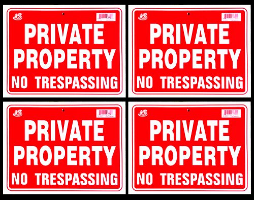 4 Signs Private Property No Trespassing Sign Flexible Heavy Thick Plastic  9 Inch X 12 Inch