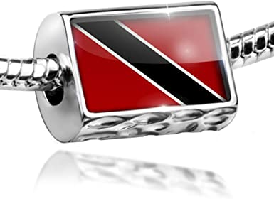 GiftJewelryShop Silver Plated Trinidad and Tobago Flag Photo Flower Head Dangle Heart Bead Charm Bracelets