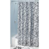 Black and White Striped Shower Curtain InterDesign Abstract Fabric Shower Curtain, 72