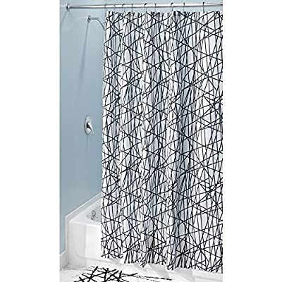 "iDesign Abstract Long Fabric Shower Curtain Water-Repellent and Mold- and Mildew-Resistant for Master, Guest, Kids', College Dorm Bathroom, 72"" x 84"", Black and White - FABRIC SHOWER CURTAIN: High quality wrinkle resistant 100% polyester fabric gives your shower stall a sleek look. Great for master bathroom, guest bathroom, child's bathroom, or basement bathroom STYLISH: Abstract stripe pattern adds a fun geometric touch to any décor RUST-RESISTANT GROMMETS: 12 rust-resistant metal grommets and reinforced top header are suitable for S hooks, shower rings, and other shower curtain hooks for easy hanging - shower-curtains, bathroom-linens, bathroom - 61cO2%2BuNZFL. SS400  -"