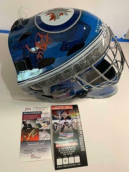 Amazon Com Connor Hellebuyck Autographed Signed Winnipeg Jets Goalie Mask Full Size Helmet Jsa Coa Sports Collectibles