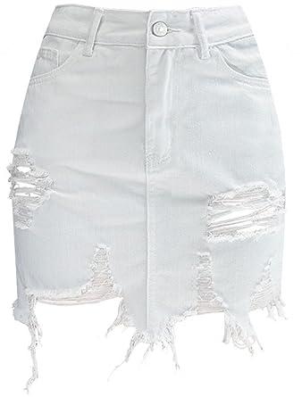 new high good service cheap prices Ameyda Womens Distressed Short Denim Skirt at Amazon Women's ...