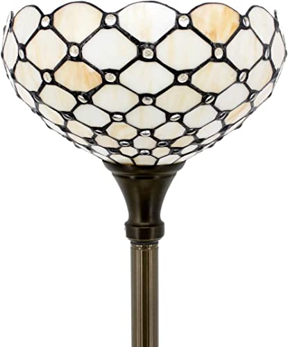 Tiffany Style Floor Lamp Torchiere Up Lighting W12H66 Inch Amber Stained Glass Crystal Bead Lampshade Antique Standing Iron Base 1E26 Foot Switch S005 WERFACTORY Living Room Home Office Decoration