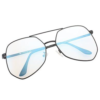c1c275b556 VIVIENFANG Women Oversized Wire Hexagon Aviator Sunglasses Mirrored Lens  Shades 87070A Clear Lens