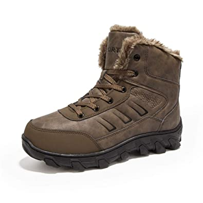 1ba519a0c9 UBFEN Winter Warm Snow Boots Men Shoes Fully Fur Lined Ankle Bootie  Waterproof Outdoor Hiking Walking
