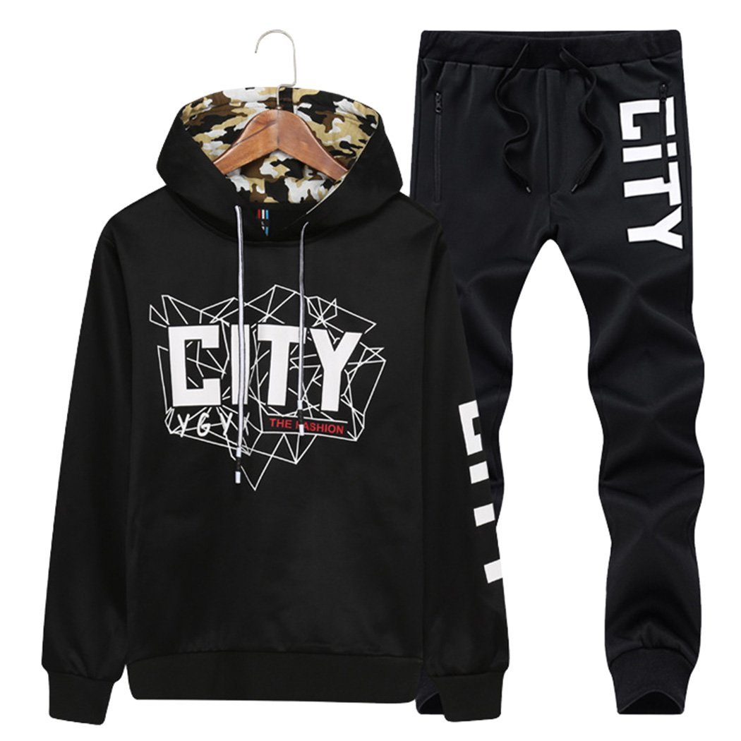 Modern Fantasy Boy's Casual Tracksuit City Running Jogging Suit Camo Teenagers Hoodie Sweatshirt & Pants Black 3XL by Modern Fantasy