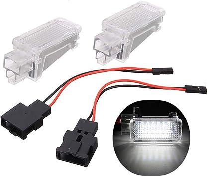 GOFORJUMP 2Pcs 12V Car LED Courtesy Door Projector Light For A//udi A3 A4 A6 V//W S//koda Foot Nest Lights Ghost Shadow Light Lamp 6500K White
