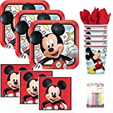 Lobyn Value Packs Disney Mickey Mouse On The Go Party Supplies Pack Serves 16: Dinner Plates, Luncheon Napkins, Cups, and Birthday Candles