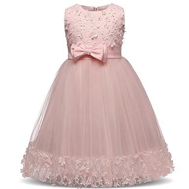 1bb8280445c3d BOZEVON Robe De Soirée Filles Élégante pour Enfant sans Manches Dentelle  Bowknot Robe de Princesse