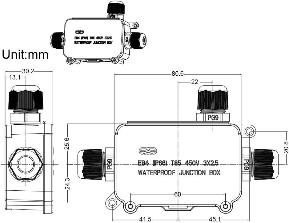 Hoomall Abzweigdose Kabelverbinder Wasserdicht 2//3 Wege Verteilerdose Au/ßen Erdkabel Schwarz Elektrischer 1Pcs