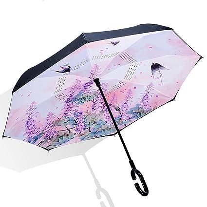 MIAOMIAOWANG Swallow Pattern Sun Umbrella Paraguas Reversible a Prueba de Viento con manija en Forma de