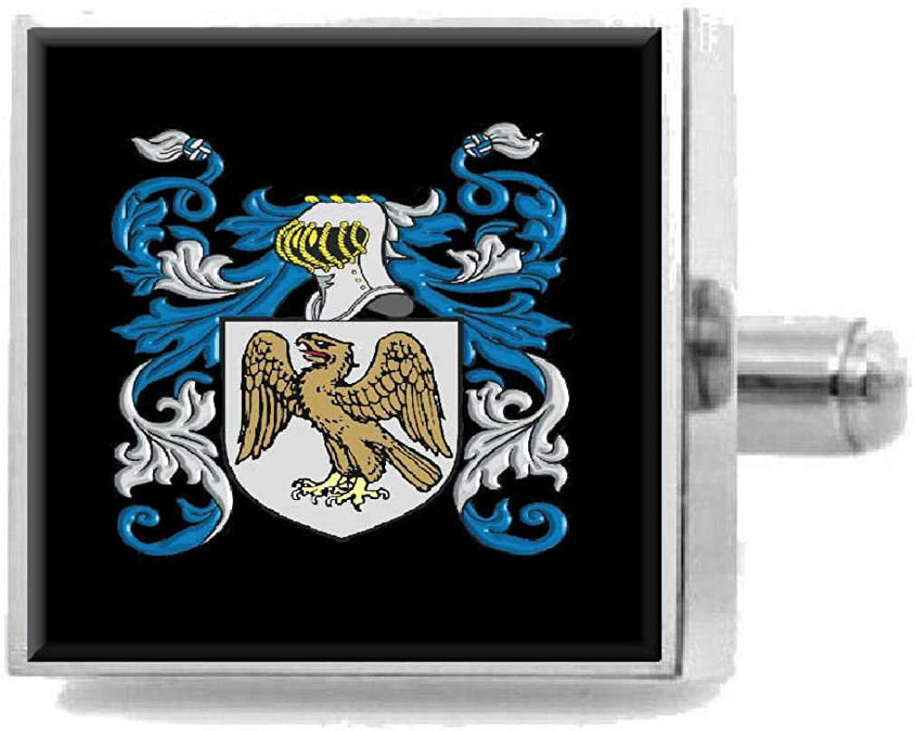 Select Gifts Gellatly Scotland Family Crest Surname Coat Of Arms Cufflinks Personalised Case