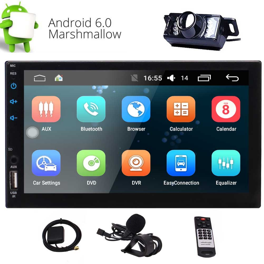 Double Din 7 Inch Touch Screen Car Stereo with Built-in HD Radio Autoradio Android Carplay Head Unit Support GPS Navigation FM//AM RDS Radio AUX Bluetooth Remote Control and Rear Camera