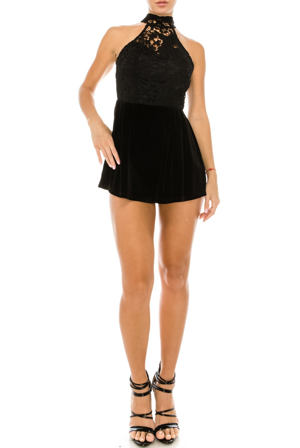 Women's Sexy Sleeveless Halter Neck Crotchet Lace Velvet Romper Club Wear Black Small