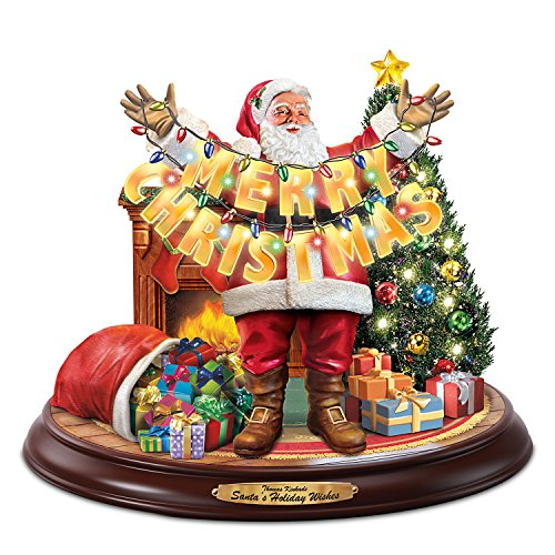 Thomas Kinkade Santa's Holiday Wishes Christmas Sculpture With Music And Lights by The Bradford Exchange