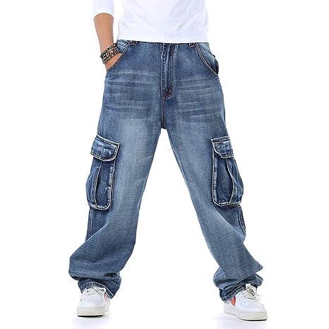Jeans de Hombre Suelto Pantalones Multibolsillos Talla ...