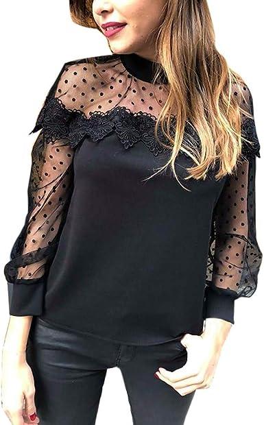 Women Long Sleeve Polka Dots Black Top Lace Blouse Shirt