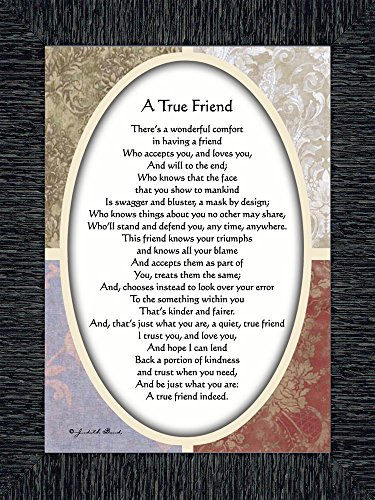 Vintage A True Friend, Poem About True Friendship, 7x9 77933 (7x9, Charcoal1) (True Friendship Poems Best Friends)