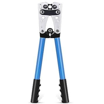6-50mm/² Bonus Pince /à D/énuder et Coupe-c/âbles 70-0mm/² Amzdeal Pince /à Sertir R/églable AWG 10-0 Cliquet de Sertissage Kit Pince en Acier Professionnel et Durable pour /Électricien Bricoleur