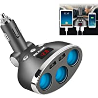 Veecome 3 Way Multi Car Cigarette Lighter Socket Extension Splitter with USB Charger DC12V Durable