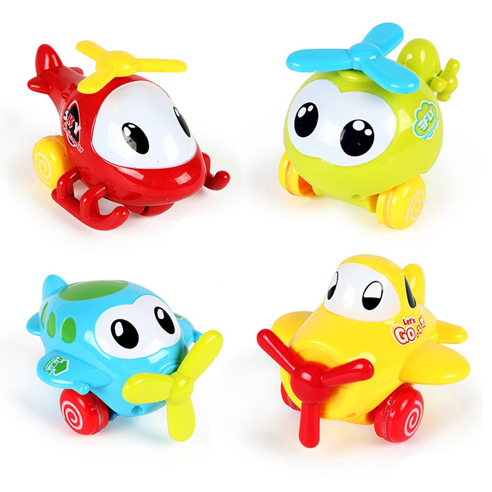 PUSITI Pull Back Cartoon Plane Assorted 4'' Airplane Friction Cars Playset 4 Pack Plastic Helicopter Aircraft Preschool Children Baby Toddlers Kids Pull-Back Vehicle Education Learning Toys