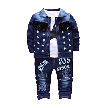 Hirolan Frühling Baby Jogginganzug Kleinkind Säugling 3 Stück Ausstattung Kleider Denim Mantel Tops Kinder Jungen Mädchen Bes