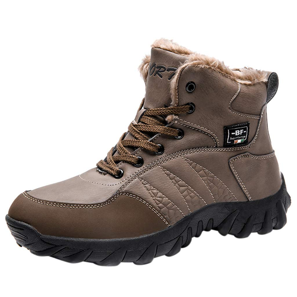 WILLTOO ♛ New Men's Winter Plus Velvet Outdoor Hiking Shoes Non-Slip Walking Leisure Sports Shoes Retro Round Boots Brown