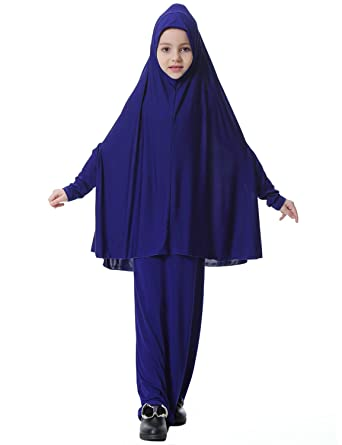 38f1d80e88e6d Feicuan Filles Robe Musulmanes Robes Longues Enfants Couleur Unie Hijab col  Rond Manches Longues Maxi Dress