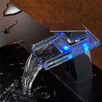 Led Elektrischer Wasserhahn Durchlauferhitzer Beleuchteter Wasserfall Glas Durchlauferhitzer Wasserhahn 3 Farbewechsel Beleuchtung Bad Armatur Einhebelmischer Fur Badezimmer Waschbecken Amazon De Baumarkt
