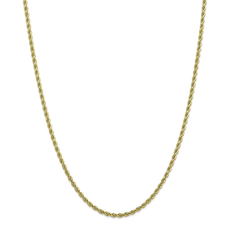 10k Yellow Gold 2.7mm Handmade Diamond-cut Rope Chain Bracelet 7-30