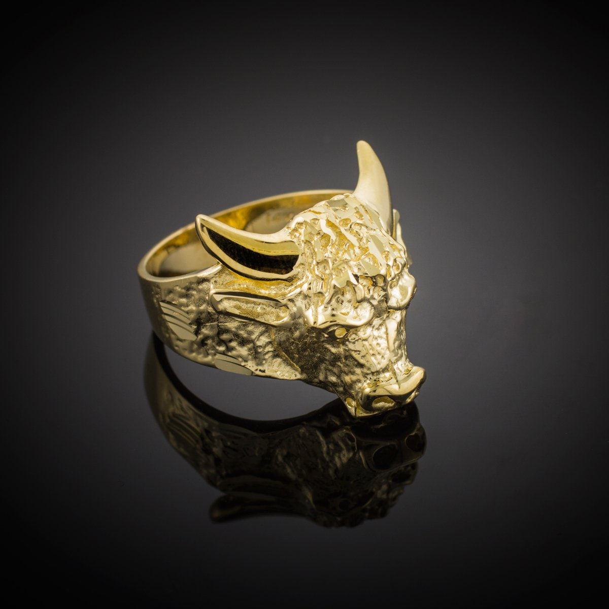 Men's Polished 10k Yellow Gold Band Taurus Bull Ring (Large) (Size 9.5) by Men's Fine Jewelry (Image #2)