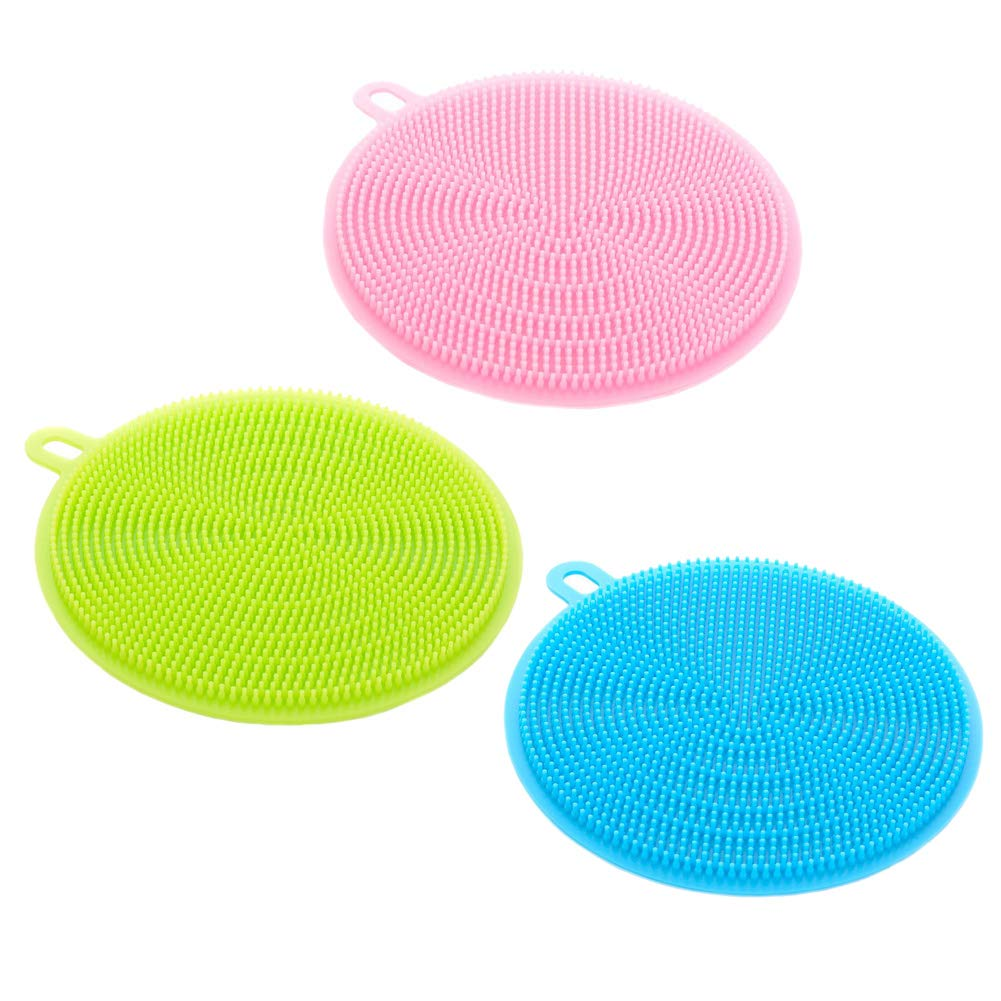 Silicone Dish Cleaning Brushes 3 Pack, Antibacterial Scrubber Sponge Household Cleaning Cloths Dish Towel for Pot Pan Bowl, by NUOMI
