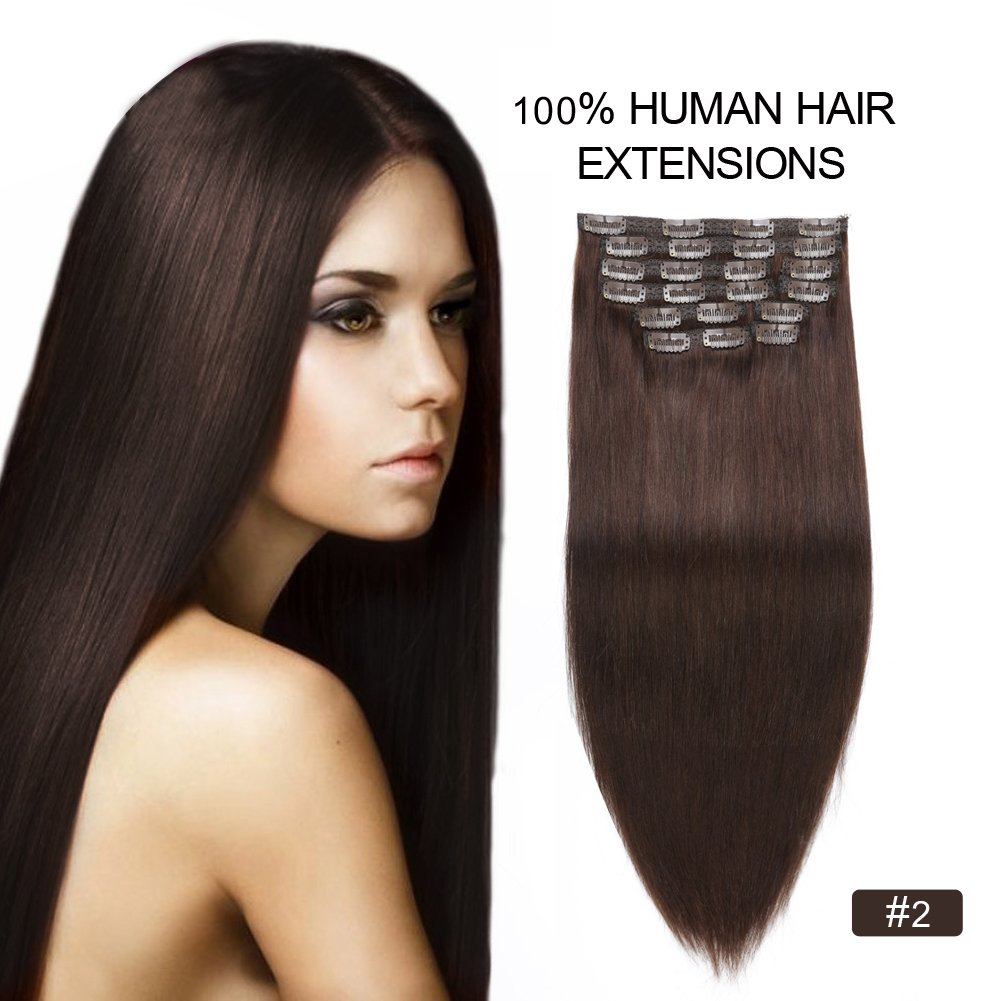 Clip in Hair Extensions 200g, Re4U Long Clip in Human Hair Extensions 24inch 10 pcs Silky Soft Dark Brown Full Head for Short Hair Double Weft (24'' 10pcs 220g #2 Dark Brown)