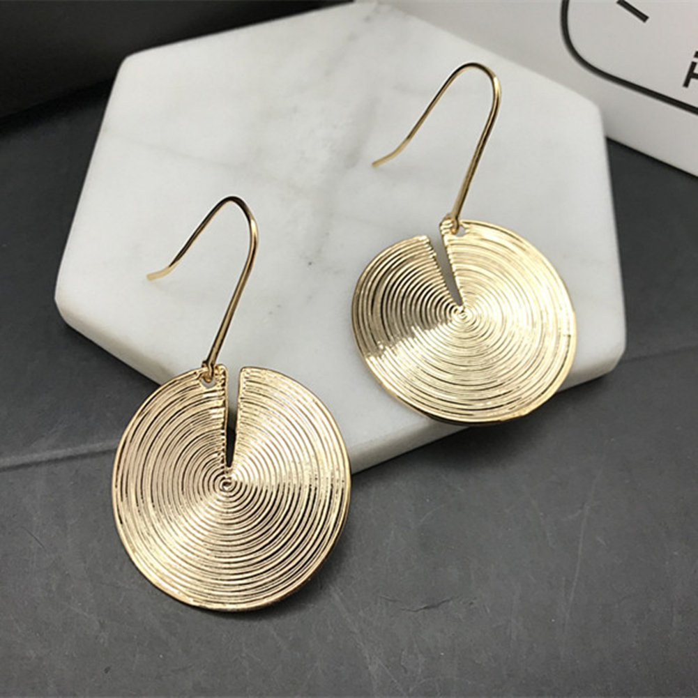 Personality asymmetrical cold wind earrings geometric stud earrings long metal pendants earring
