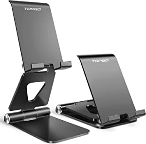 Cell Phone Stand Holder Adjustable Increase Fully Foldable Thick Aluminum Desktop Cellphone Cradle Dock with Anti-Slip Base and Convenient Charging Port for iPhone for Bedside Table, Ofice, Desk-Black