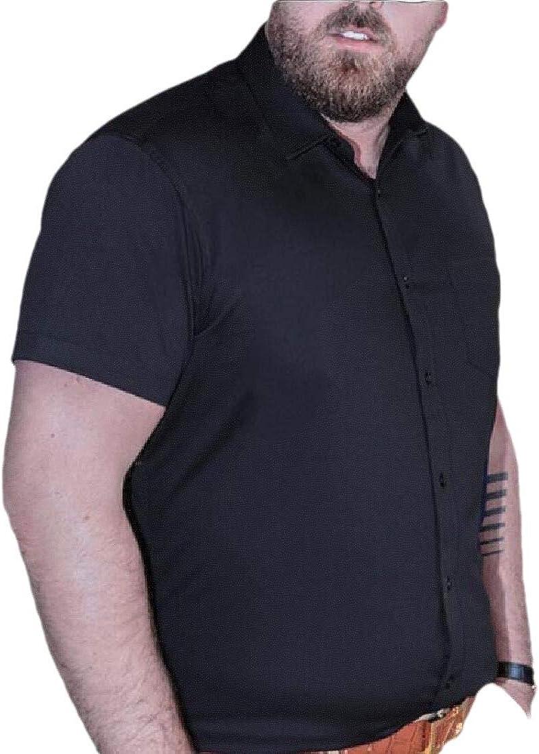 YIhujiuben Mens Casual Oxford Short Sleeve Regular Fit Button Down Tops Dress Shirt