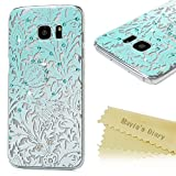 Mavis's Diary S7 Edge Case,Galaxy S7 Edge Case 3D Handmade Bling Crystal Shiny Rhinestone Diamonds Special Hollow Floral Gradient Pattern Hard PC Cover Clear Case for Samsung Galaxy S7 Edge