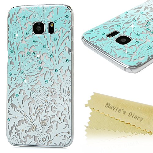 S7 Edge Case,Galaxy S7 Edge Case - Mavis's Diary 3D Handmade Bling Crystal Shiny Rhinestone Diaonds Special Hollow Floral Gradient Pattern Hard PC Cover Clear Case for Samsung Galaxy S7 Edge