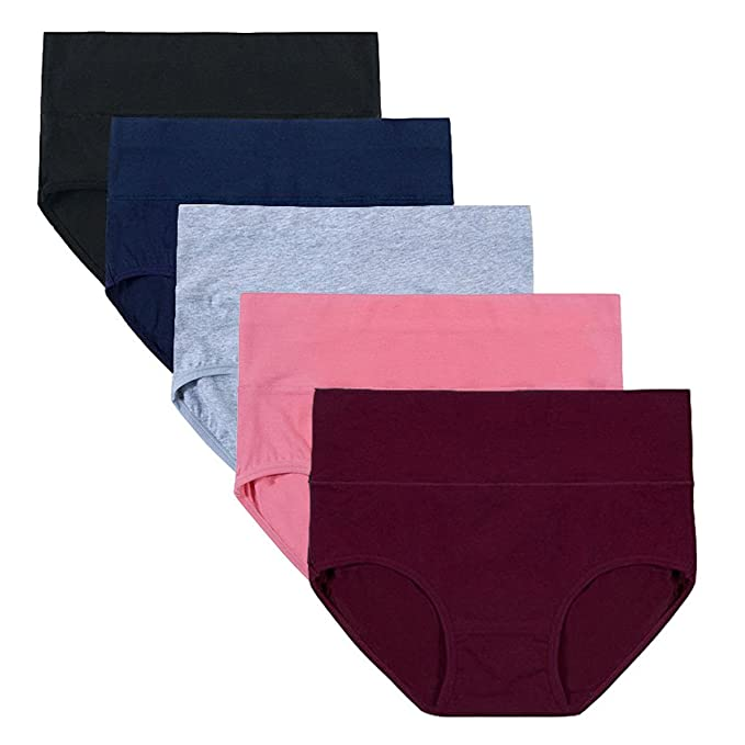 AIGIRLS Women's Cotton Underwear Panties, Soft Mid-High Waist Breathable Underwear,Tummy Control Comfort Hipster 5 Pack (Dark-Color, Small/Size 5)