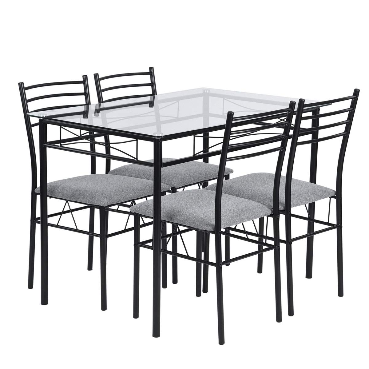 Warmcentre 5 Piece Table & Chair Set,Dining Kitchen Table and 4 Chairs with Tempered Glass Steel Tube Legs Dining Room Living Room Home Furniture,Black