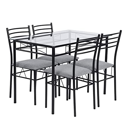 Warmcentre 5 Piece Table & Chair Set,Dining Kitchen Table and 4 Chairs with  Tempered Glass Steel Tube Legs Dining Room Living Room Home ...