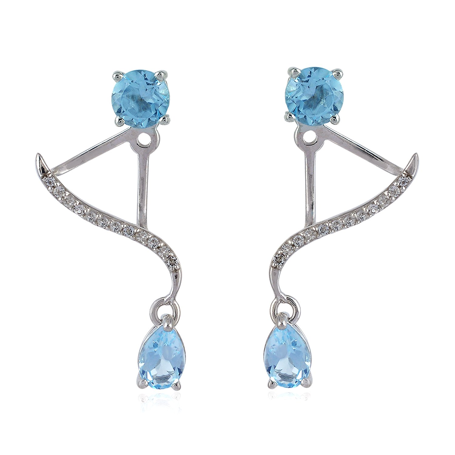 Mettlle Blue Topaz & White Topaz Sterling Silver 925 Ear Jacket Stud Earrings