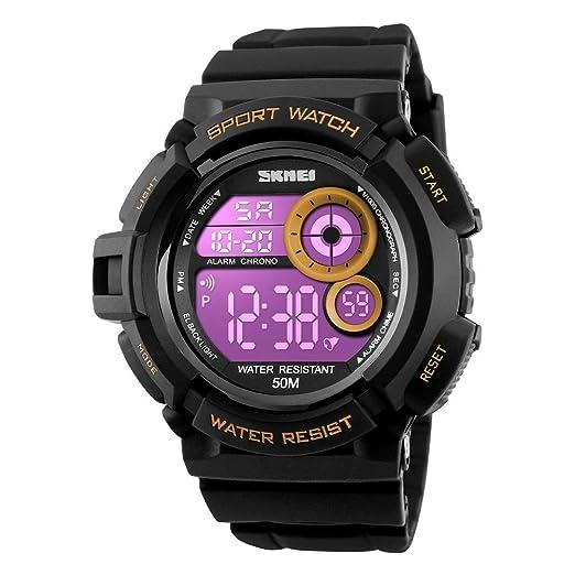 FeiWen Grande Dial Digitales Relojes Hombre LED Luz Multifuncional Electrónica 50M Impermeable Outdoor Militar Deportivo Plástico Reloj de Pulsera con Goma ...