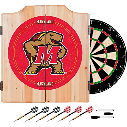 NCAA University of Maryland Wood Dart Cabinet Set