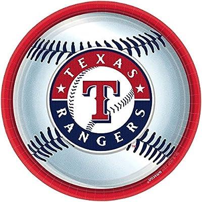 "Amscan Texas Rangers Round Dinner Plates, 9"""