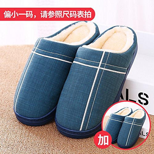 Fankou paio di pantofole di cotone femmina spessa invernale home impermeabile coperta anti-skid uomini, 2 doppia 42/43, blu scuro + blu scuro