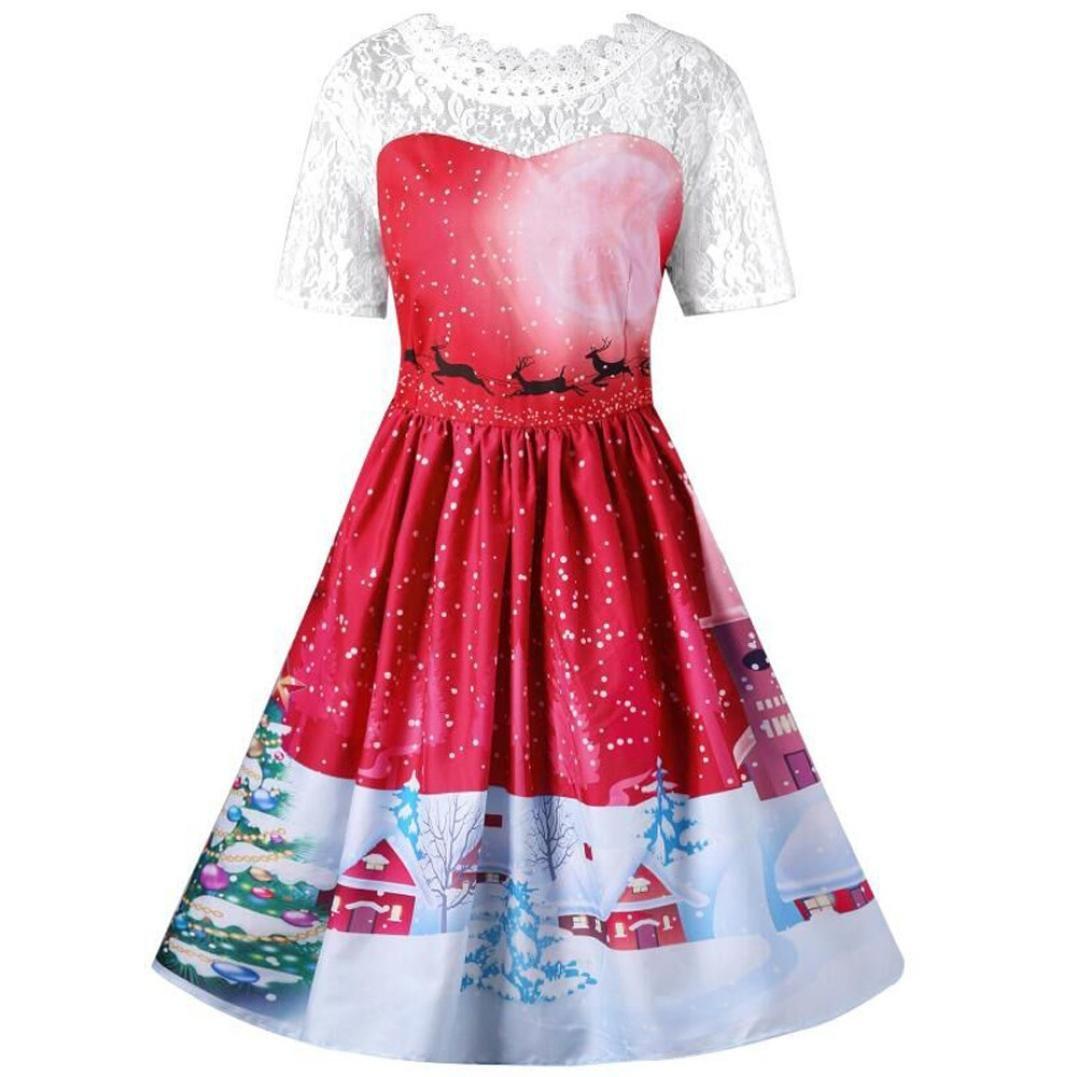 Christmas Dress Damen Rcool Dame Weihnachtsfeier Vintage Kleid ...