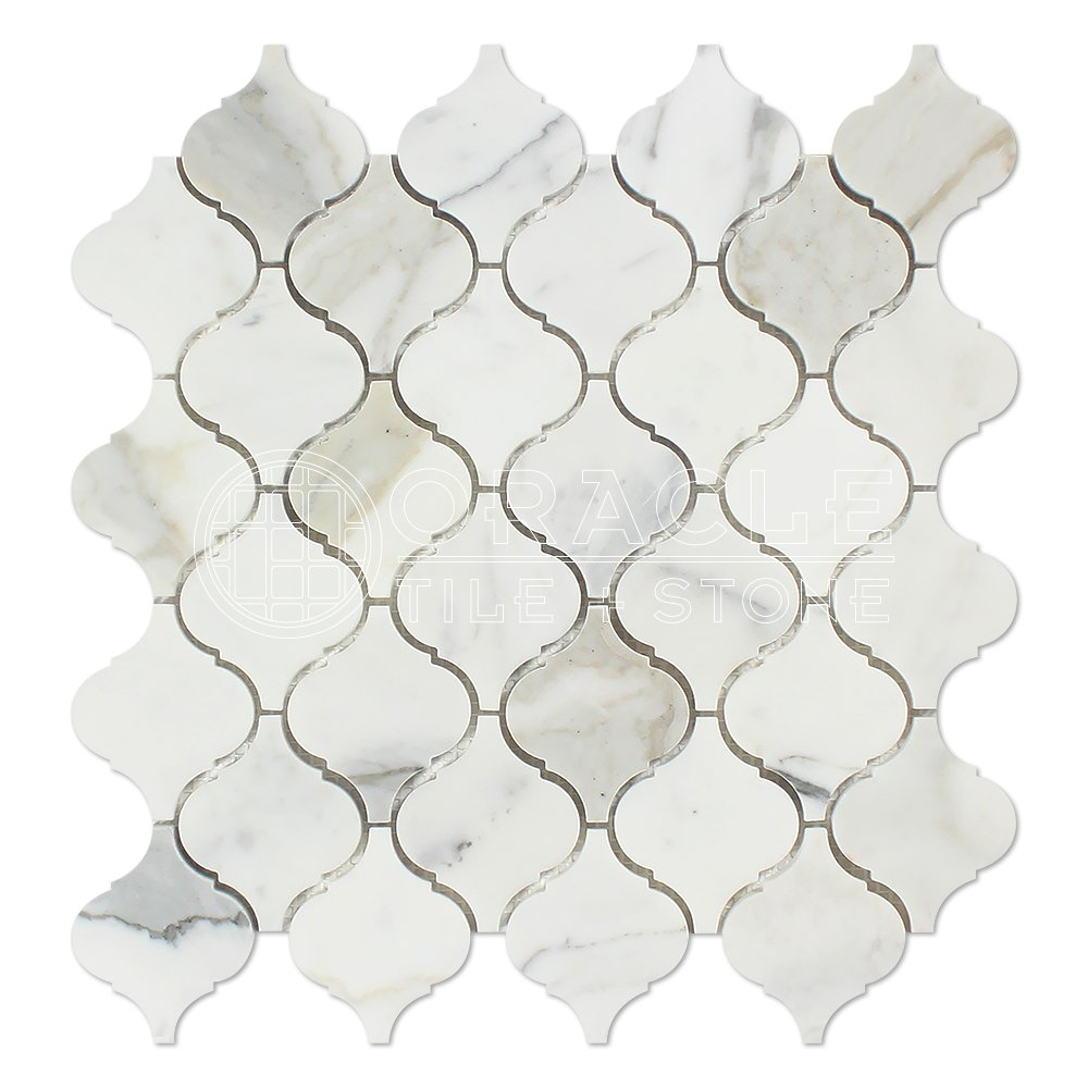 Calacatta Gold (Italian Calcutta) Marble Lantern Arabesque Mosaic Tile, Polished
