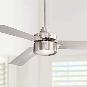 """52"""" Casa Arcus Modern Ceiling Fan with Light LED Remote Control Brushed Nickel for Bedroom Living Room Kitchen Family Dining - Casa Vieja"""